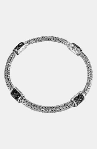 John Hardy WOMEN's Classic Chain Silver Lava Four Station Chain Bracelet 5MM with Black Sapphire, Size M - BBS9694BLSXM
