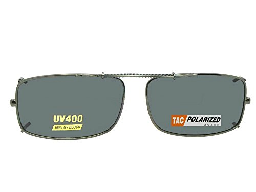 Slim Rectangle Polarized Clip On Sunglasses (Pewter-Polarized Gray Lens, 54mm Width x 33mm ()