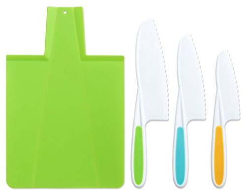 Tovla & Co. Kids Kitchen Knife and Foldable Cutting Board Set: Childrens Cooking Knives in 3 Sizes & Colors/Firm Grip, Serrated Edges, BPA-Free Kids Knives/Safe Lettuce and Salad Knives