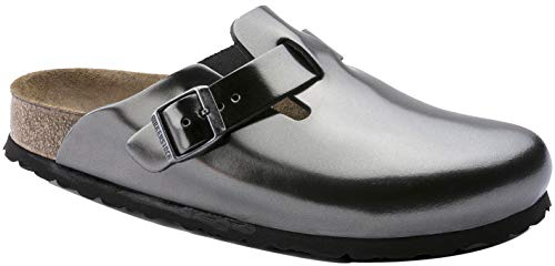 Price comparison product image Birkenstock Women's Boston Soft Footbed Anthracite Leather Clogs 42 N (US Women's 11-11.5)