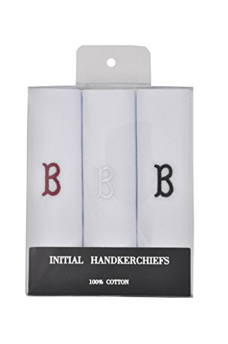 (T&Z 3 Pack Men's Cotton Initial Monogrammed Handkerchief Gift Set)