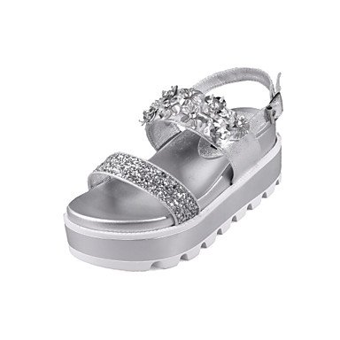 Uk3 Eu36 Wedge Silver Heel 5 Comfort Us5 Women'S 5 Cn35 Microfibre Dress RTRY Sandals Spring Summer Sequin 0fFxw0O6q