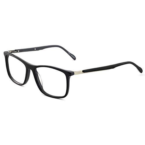OCCI CHIARI Optical Eyewear Non-prescription Fashion Glasses Eyeglasses Frame with Clear Lenses Glasses (Black+Gray)