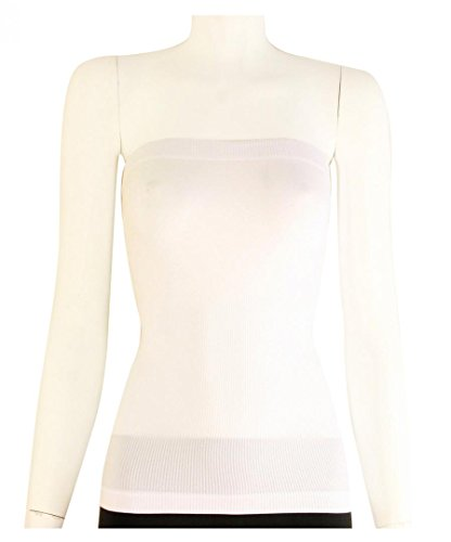 Plain Solid Seamless Stretch Strapless Fitted Layer Long Tube Top- One Size - Shade White