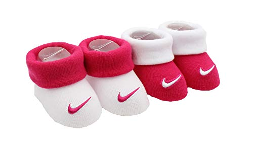 (Nike New Born Infant 2 Pair Booties (Rush Pink (A4Y), 0-6 Months))