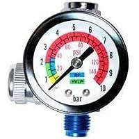 LE LEMATEC Regulador del compresor de aire con manómetro para pistolas de pulverización y herramientas de aire (Ar-01, 1/4 universal)