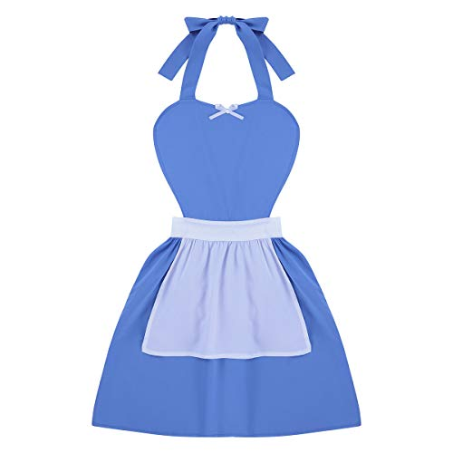 YiZYiF Adults Apron Kitchen Cooking Cleaning Fancy Dress Cosplay Costumes BELLE Blue