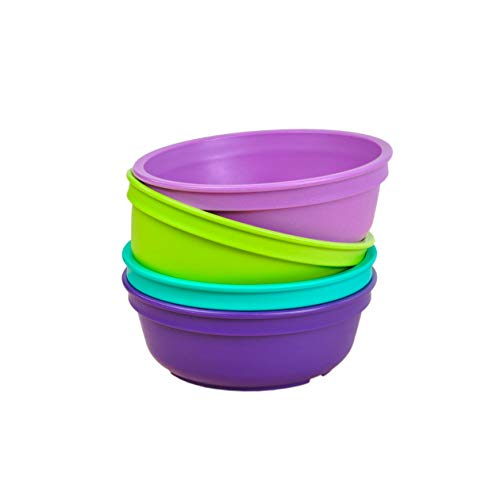 Re-Play Made in The USA 4pk Bowls for Easy Baby, Toddler, and Child Feeding - Aqua, Green, Purple, Amethyst (Mermaid+)
