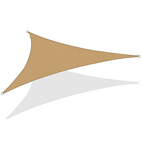 KHOMO GEAR Triangle Sun Shade Sail 20 x 20 x 20 Ft UV Block Fabric – Beige Tan