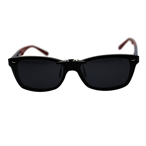oGeee Custom Polarized Clip On Sunglasses for RAY-BAN RB5228 (55mm) 55-17-140 (Black) by oGeee (Image #3)