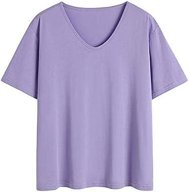 Top básico de algodón Suelto en Forma de U con Mangas Cortas de Talla Grande para Damas