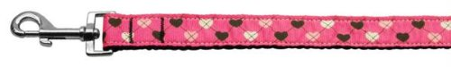 Mirage Pet Products Argyle Hearts Nylon Ribbon Leash for Pets, 1-Inch by 4-Feet, Bright Pink