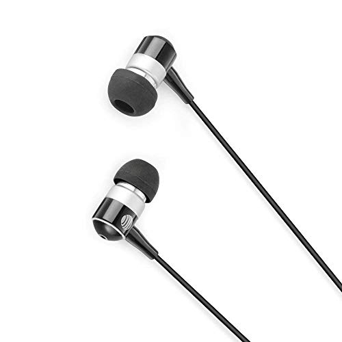 (Renewed) AT&T PEBM02 Noise Isolating In-Ear Stereo Headphones with Microphone – Black