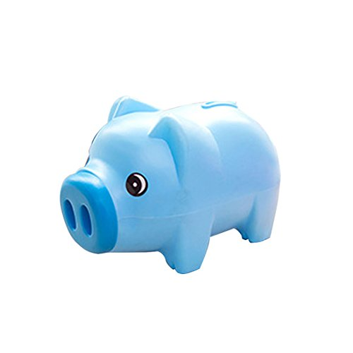 Levoberg Piggy Bank Shape Pig Charming Unbreakable Gift Kids 7.5x3.93x4.33inch Blue - Plastic Hard Bank
