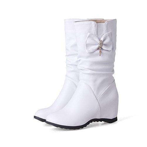 VogueZone009 Damen Ziehen auf Flaum Futter Rund Zehe Hoher Absatz Rein Stiefel Weiß
