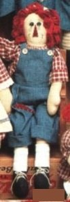 Raggedy Andy Rag Cloth Doll - 22in Tall w/Blue Jeans Overalls