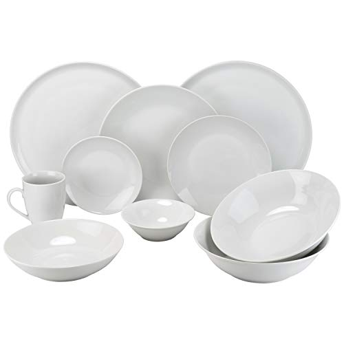 (10 Strawberry Street SM-5200-CP-W 52 Pc Coupe Dinnerware Set, Service for 8, White )