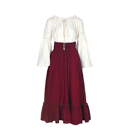 NSPSTT Womens Renaissance Medieval Costume Gypsy Long Sleeve Dress Top and Skirt (X-Large, Wine red) -