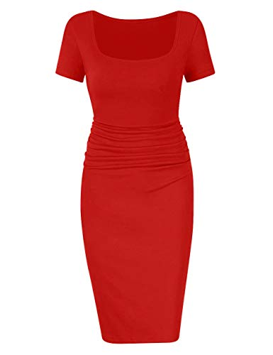 BORIFLORS Women's Casual Basic Ruched Bodycon Dresses Short Sleeve Sexy Club Midi Dress,Small,Red