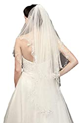 Passat Two Tier Mid Length Wedding Veil with Beaded Edge DB133
