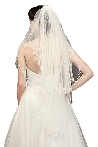 (Passat Ivory Knee 2T Crystal Beaded Veils Pearl Bridal Veil DB133)