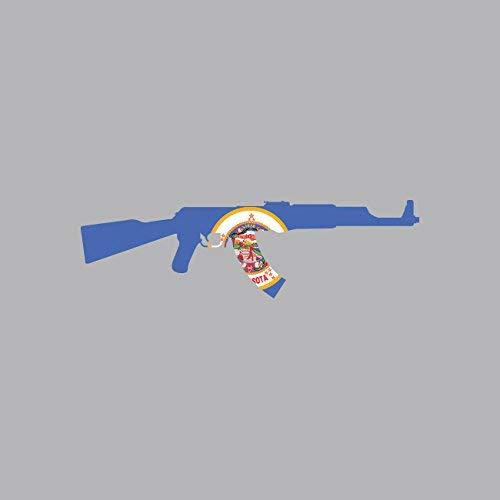 Magnet Minnesota State Shape AK-47 Magnetic Vinyl AK47 Kalashnikov MN Car Magnet Bumper Sticker ()