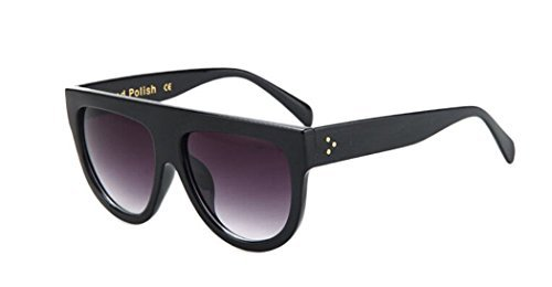 GAMT Vintage Top Flat Full Rimmed Plastic Cateye Sunglasses Bright Black