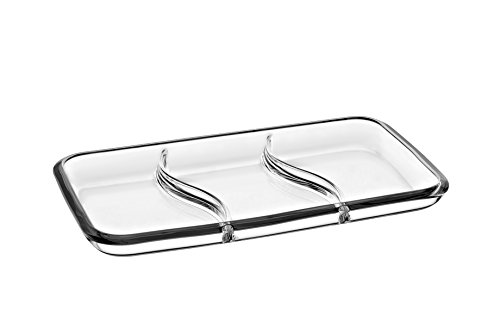 Barski - European Quality - Glass - 3 Sectional - Rectangular - Relish Dish - 14.2