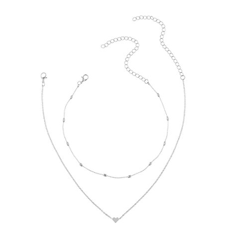 Women Double Layer Heart Pendant Statement Chain Necklace Jewelry by TOPUNDER