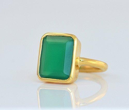 Large Green Onyx Ring, Statement Ring, Cocktail Ring, Vermeil Gold or silver, bezel set ring, large rectangular ring, green gemstone ring, May Birthstone Ring, May Birthday Gift Onyx Vermeil Ring