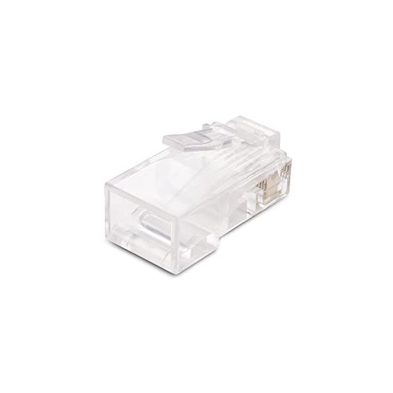 Cable Matters 100 Pack Cat 6 / Cat6 RJ45 Modular Plugs for Solid or Stranded UTP Cable / RJ45 Plugs 4 DIY NETWORK PATCH CABLE RJ45 connectors terminate unshielded twisted pair stranded or solid cable for making a custom-length Cat 6 Ethernet cable; Supports 23 to 28 AWG round or flat stranded wire with an outside diameter up to 6.3mm CATEGORY 6 PERFORMANCE rated for a Gigabit Ethernet channel compliant network; Backwards compatible with Cat 5e stranded or solid cable; 50 micron gold-plated contacts on 8P8C network connectors provide superior transmission and resist corrosion for a Cat6 cable COST-EFFECTIVE 100-PACK of Cat6 connectors provides enough connectors for a large project or multiple small jobs; Construct multiple patch cables in the perfect length for router, patch panel, or workstation applications with this crimp connector