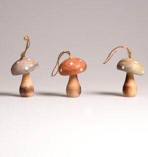 Set Of 3 Coloured Natural Wooden Mushroom Hanging Decoration