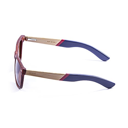 Ocean Sunglasses Beach Lunettes de Soleil Mixte Adulte, Bamboo Brown Frame/Wood Natural White/Red Arms/Brown Lens