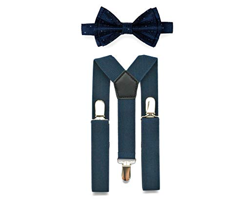 Navy Suspenders Bow Tie Set for Baby Toddler Boy Teen Men || Weddings Prom Homecoming Quinceañera (2. Toddler (18 mo - 6 yrs), Navy Suspenders, Navy Polka Dot Bow Tie) ()