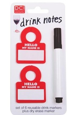 DCI Re-Usable Drink Markers Drink Notes, Set of 6