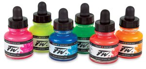 Daler Rowney Fw Fluorescent Acrylic Ink  Set Of 6 Neon Colors  160329006