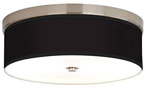 "Liz Modern Ceiling Light Flush Mount Fixture Brushed Nickel 14"" Wide All Black Printed Giclee Drum Shade for Bedroom Kitchen Living Room Hallway Bathroom - Giclee Gallery"