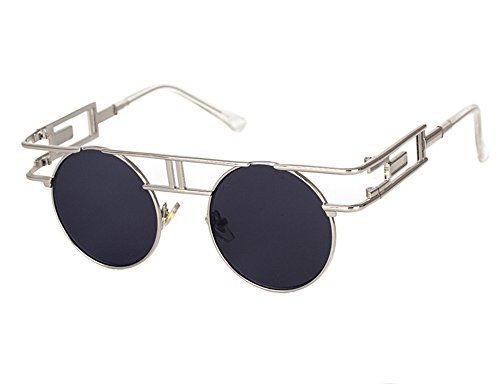 marco Gafas vendimia de redondo de Plata sol gótico colorido reflexivo Gris del UV400 redondas clásico la qIwAI7xr