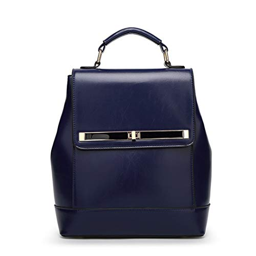 - Waxed Genuine Leather Woman Shoulder Bag Casual Backpack
