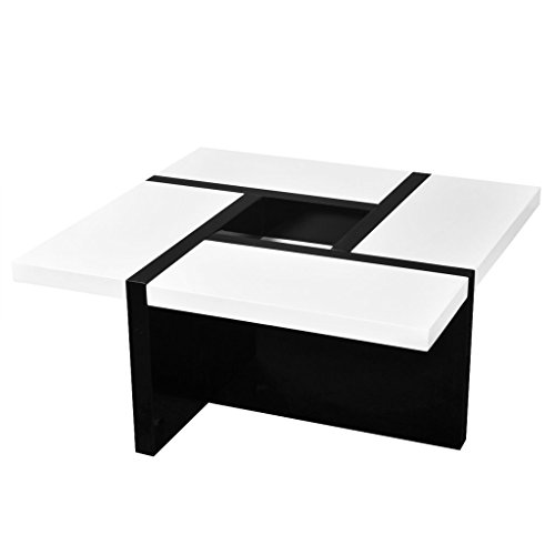 Festnight High Gloss Coffee Table Middle Storage MDF Couch End Table Living Room Home Furniture 31.5
