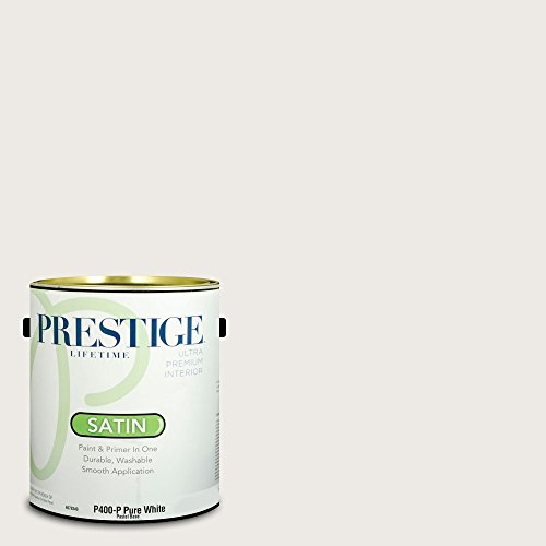 Sherwin Williams Satin (Prestige Paints Interior Paint and Primer In One, 1-Gallon, Satin,  Comparable Match of Sherwin Williams Snowbound)