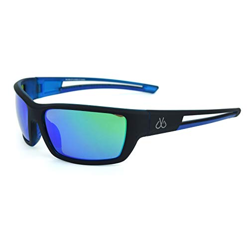 Filthy Anglers Balsam Polarized Sunglasses, Matte Black Wrap around Frame, Polarized EP Green Mirror Lenses ()