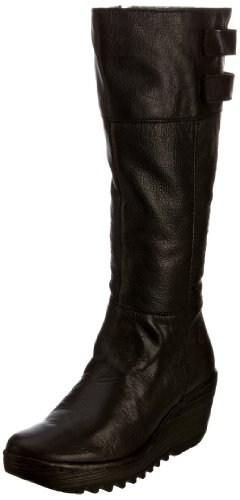 Fly London Yush 2P500336-1 - Botas fashion de cuero para mujer Negro (Black Mousse)