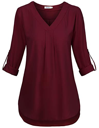 Faddare 3/4 Sleeve Blouses for Women Plus Size,Pleated V Neck Tops for Daily Wear,Red M