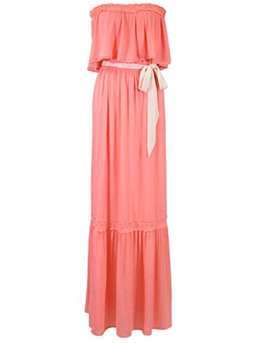 Flying Tomato Sweet Bohemian Ruffle Layer Tie Waist Tube Top Maxi Dress