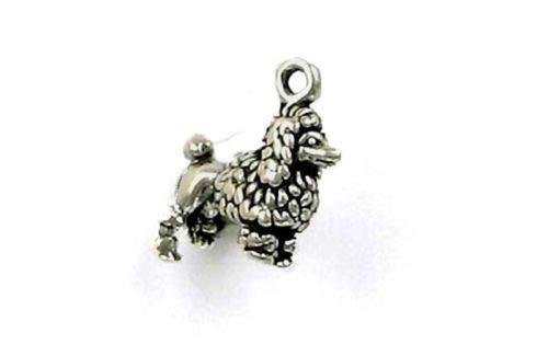 Sterling Silver 3-D Miniature Poodle Charm - Jewelry Accessories Key Chain Bracelet Necklace Pendants