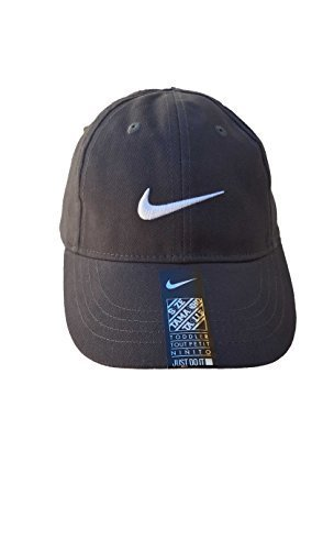 (Nike Infant Boys Embroidered Swoosh Logo Cotton Baseball Cap, Anthracite (693) / White/Anthracite, 12/24M)