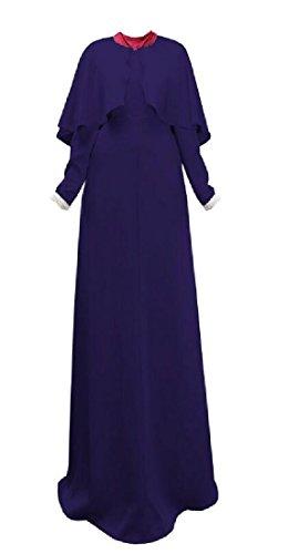 Dress Sleeve Longline Fit Comfy Abaya Purplish Blue Women Long Muslim Arab TxT8qI01