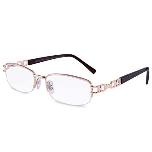 EYEGUARD Metal Half Rim Frames and crystal clear Women Reading Glasses High Quality Readers With Case Fashion Design for Ladies
