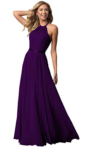Women's Sleeveless Halter Bridesmaid Dresses Chiffon Flowy Maxi Evening Party Gownss (Plum,2) ()